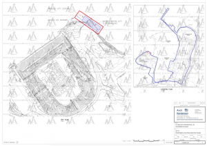 A picture showing teachincal plan drawing of Hunterston cobnstruxtion yard with pier area highlighted