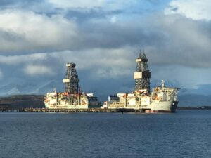 A picture showing two drill ships at Hunterston jetty