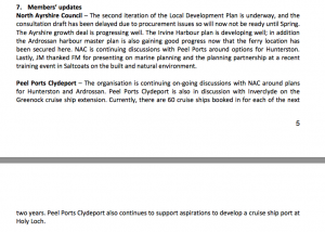 A screenshot of Clyde Marine Planning Partnership minutes